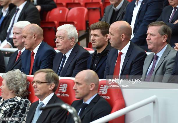 Chris Lawler Phil Neal Ian Callaghan Steven Gerrard Gary Mcallister and Ronnie Whelan during the Kenny Dalglish Stand unveiling on October 13 2017 in...