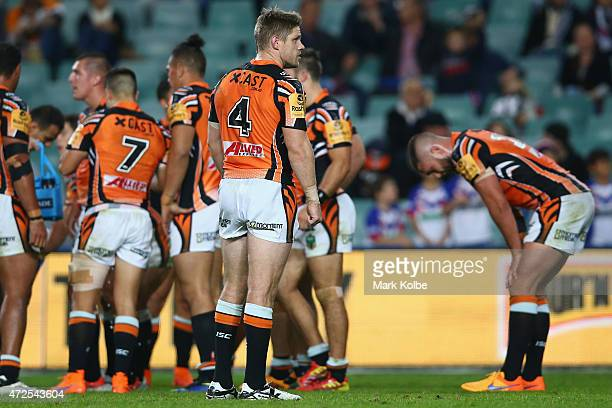 Chris Lawrence of the Wests Tigers looks dejected after a Roosters try during the round nine NRL match between the Sydney Roosters and the Wests...