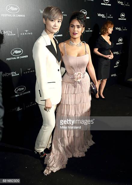 Chris Lee and Salma Hayek attends the 'Women in Motion' Prize Reception part of The 69th Annual Cannes Film Festival on May 15 2016 in Cannes France