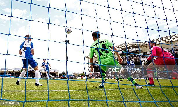 Chris Lines of Bristol scores the opening goal of the game during the Vanarama Football Conference League Play Off Semi Final Second Leg between...