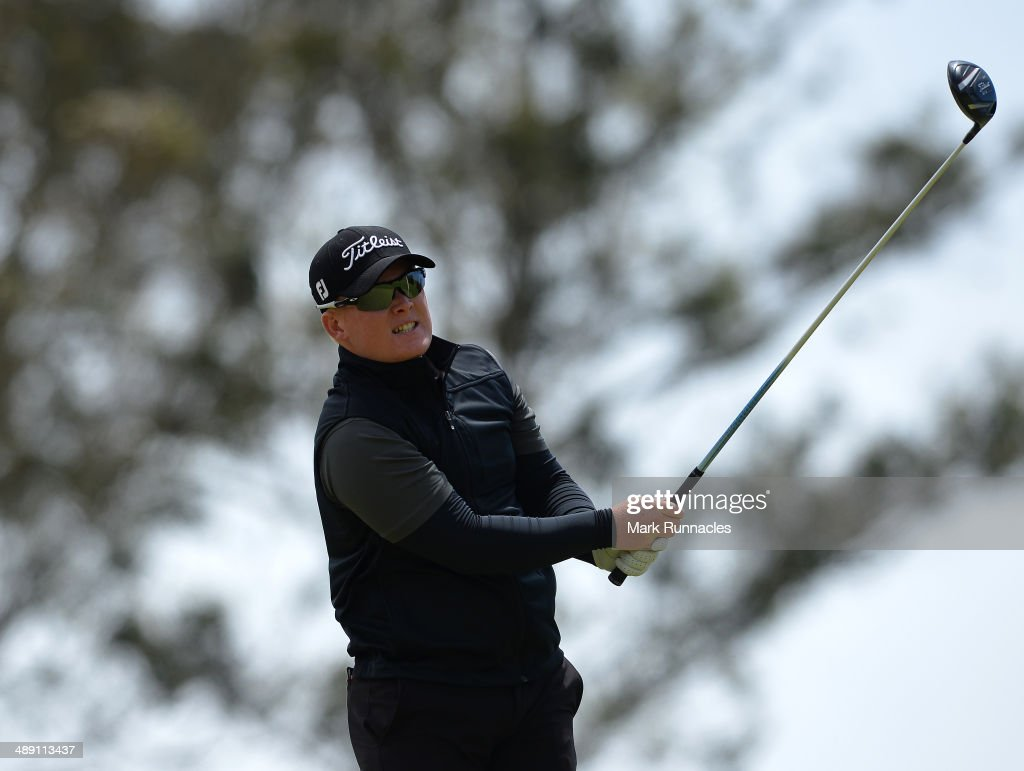 Chris Lloyd of England plays his tee shot at the 16th during the Madeira Islands Open - Portugal - BPI at Club de Golf do Santo da Serra on May 10, 2014 in Funchal, Madeira, Port gal.