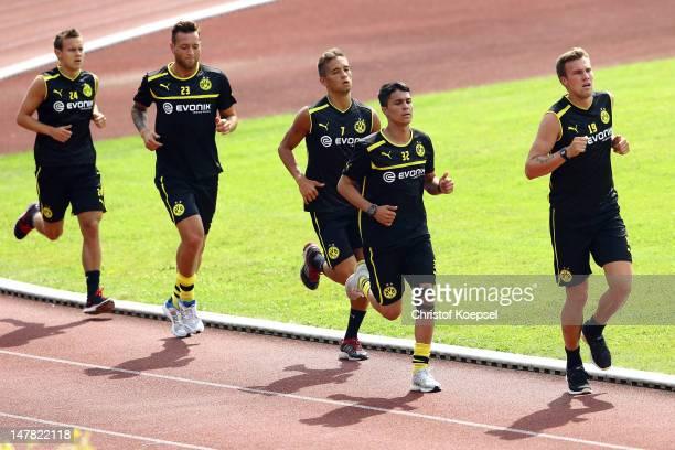 Chris Loewe Julian Schieber Moritz Leitner Leonardo Bittencourt and Kevin Grosskreutz run during the lactate test of Borussia Dortmund at Hoesch Park...