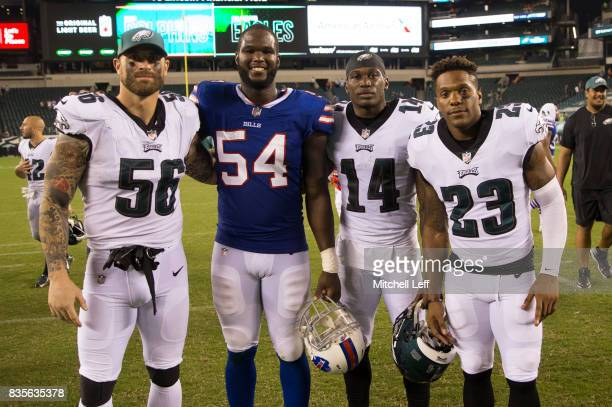 Chris Long David Watford and Rodney McLeod of the Philadelphia Eagles pose for a picture with Max Valles of the Buffalo Bills after the preseason...