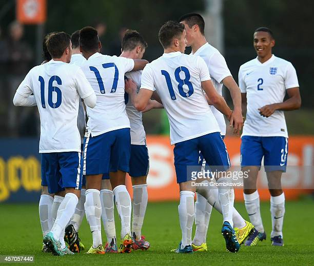 Chris Long of England celebrates as he scores the first goal during the International Under 20 Tournament match between U20 Netherlands and U20...