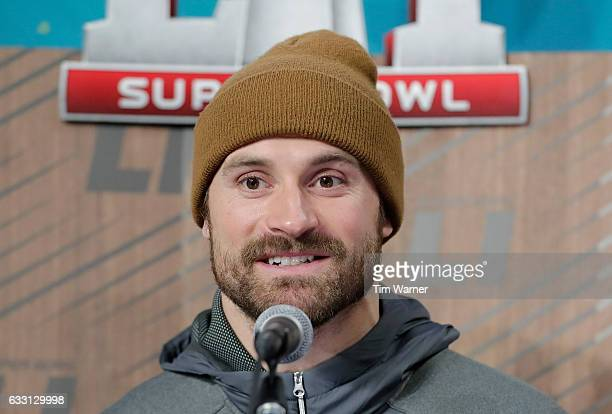 Chris Long of the New England Patriots speaks with the media during Super Bowl 51 Opening Night at Minute Maid Park on January 30 2017 in Houston...