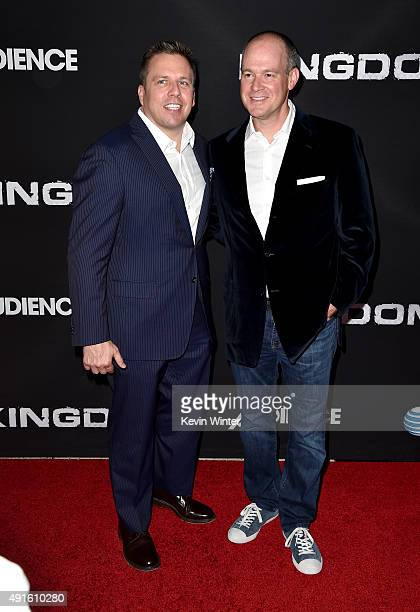 Chris Long Senior Vice President Original Content and Production ATT and journalist Rich Eisen attend the premiere of DIRECTV's 'Kingdom' Season 2 at...