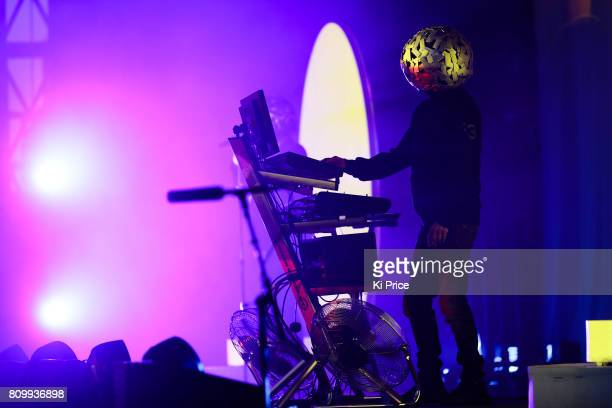 Chris Lowe of Pet Shop Boys perform at the Henley Festival on July 6 2017 in HenleyonThames England