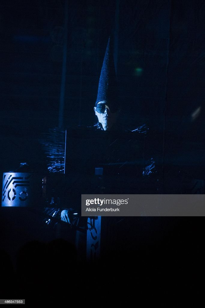 Chris Lowe of The <a gi-track='captionPersonalityLinkClicked' href=/galleries/search?phrase=Pet+Shop+Boys&family=editorial&specificpeople=559493 ng-click='$event.stopPropagation()'>Pet Shop Boys</a> performs during Moogfest 2014 on April 23, 2014 in Asheville, North Carolina.