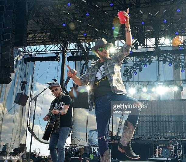 Chris Lucas and Preston Brust of LoCash perform during the Route 91 Harvest country music festival at the Las Vegas Village on September 30 2016 in...