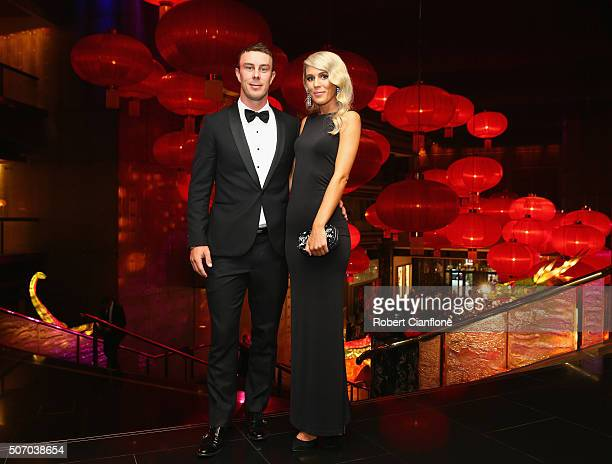 Chris Lynn and Krystal Opperman arrive at the 2016 Allan Border Medal ceremony at Crown Palladium on January 27 2016 in Melbourne Australia