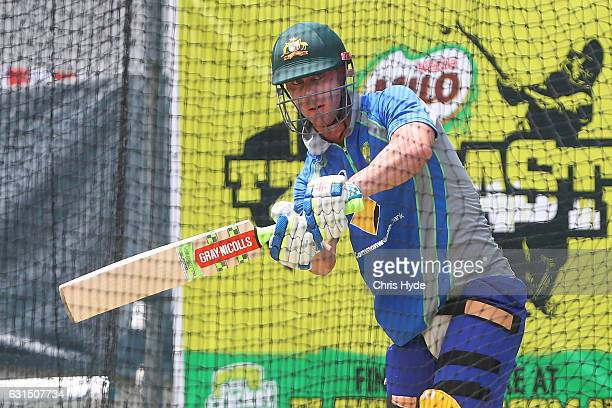 Chris Lynn bats during an Australian nets session at The Gabba on January 12 2017 in Brisbane Australia