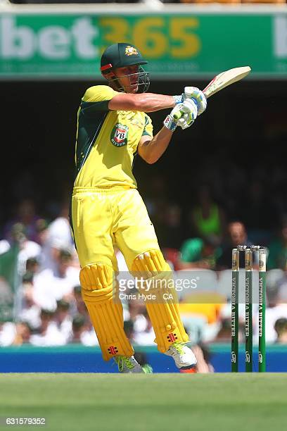 Chris Lynn of Australia bats during game one of the One Day International series between Australia and Pakistan at The Gabba on January 13 2017 in...