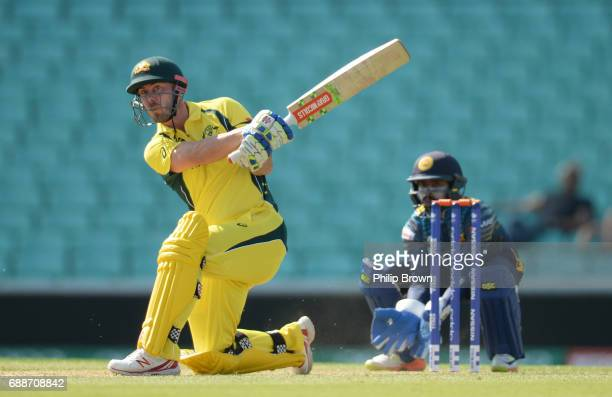 Chris Lynn of Australia hits a six during the ICC Champions Trophy Warmup match between Australia and Sri Lanka at the Kia Oval cricket ground on May...