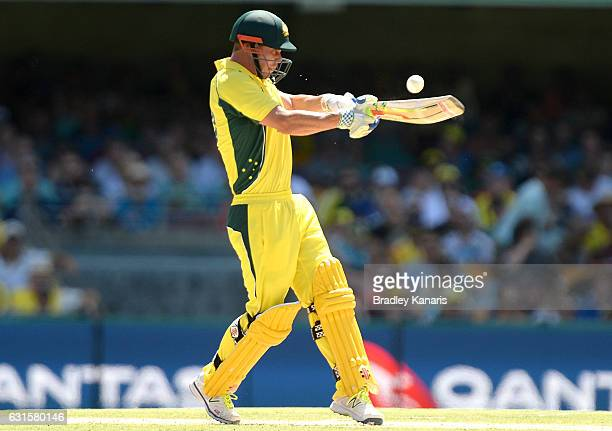 Chris Lynn of Australia plays a shot during game one of the One Day International series between Australia and Pakistan at The Gabba on January 13...
