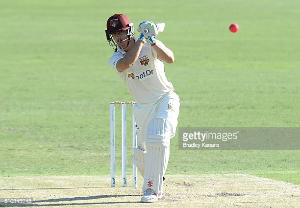 Chris Lynn of Queensland plays a shot during day two of the Sheffield Shield match between Queensland and Tasmania at The Gabba on February 15 2016...