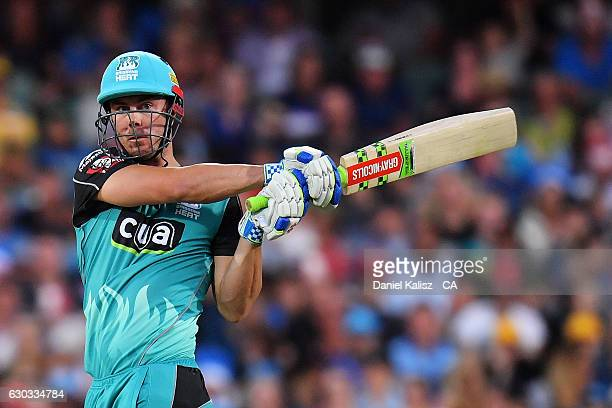 Chris Lynn of the Brisbane Heat bats during the Big Bash League match between the Adelaide Strikers and Brisbane Heat at Adelaide Oval on December 21...