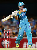 Chris Lynn of the Heat bats during the Big Bash League match between the Brisbane Heat and Hobart Hurricanes at The Gabba on January 15 2015 in...