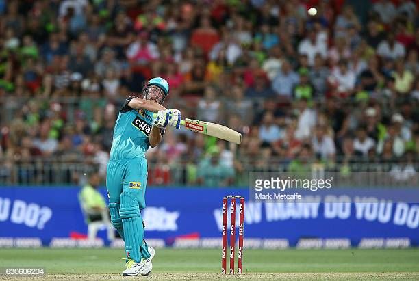 Chris Lynn of the Heat bats during the Big Bash League match between the Sydney Thunder and Brisbane Heat at Spotless Stadium on December 28 2016 in...