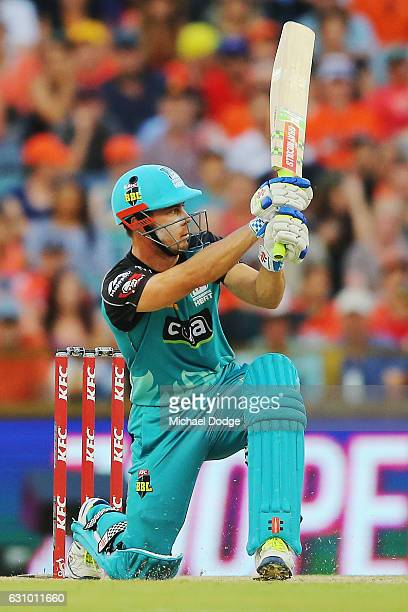 Chris Lynn of the Heat bats during the Big Bash League match between the Perth Scorchers and the Brisbane Heat at WACA on January 5 2017 in Perth...