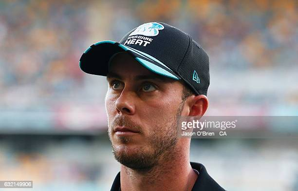 Chris Lynn of the Heat during the Big Bash League match between the Brisbane Heat and the Melbourne Renegades at The Gabba on January 20 2017 in...