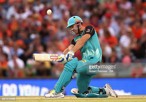 Chris Lynn of the Heat plays a shot during the Big Bash League match between the Perth Scorchers and the Brisbane Heat at WACA on January 5 2017 in...