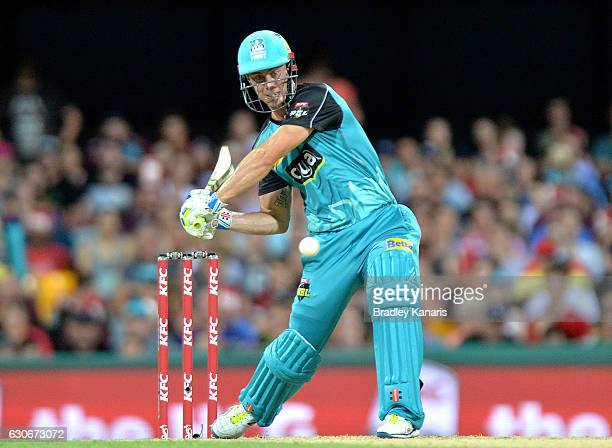 Chris Lynn of the Heat plays a shot during the Big Bash League between the Brisbane Heat and Hobart Hurricanes at The Gabba on December 30 2016 in...