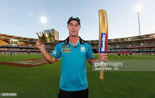 Chris Lynn of the heat with his king of the sixers award during the Big Bash League semi final match between the Brisbane Heat and the Sydney Sixers...