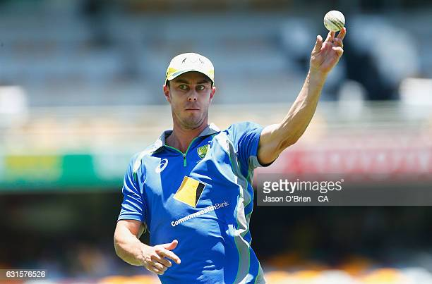 Chris Lynn warms up during game one of the One Day International series between Australia and Pakistan at The Gabba on January 13 2017 in Brisbane...