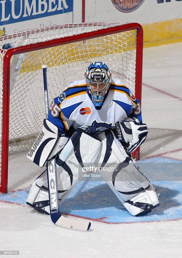 Chris Madden of the Bridgeport Sound Tigers stands in the crease during the game with the Norfolk Admirals November 2 2005 in Bridgeport Connecticut...