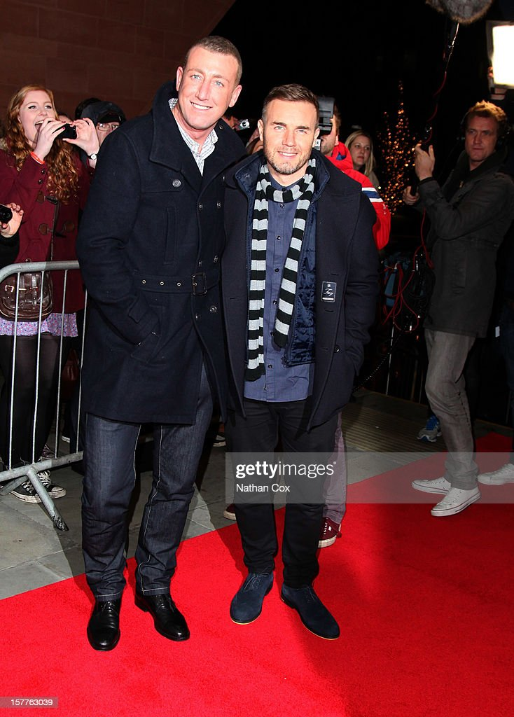 Chris Maloney and <a gi-track='captionPersonalityLinkClicked' href=/galleries/search?phrase=Gary+Barlow&family=editorial&specificpeople=616384 ng-click='$event.stopPropagation()'>Gary Barlow</a> attends a press conference ahead of the X Factor final this weekend at Manchester Conference Centre on December 6, 2012 in Manchester, England.