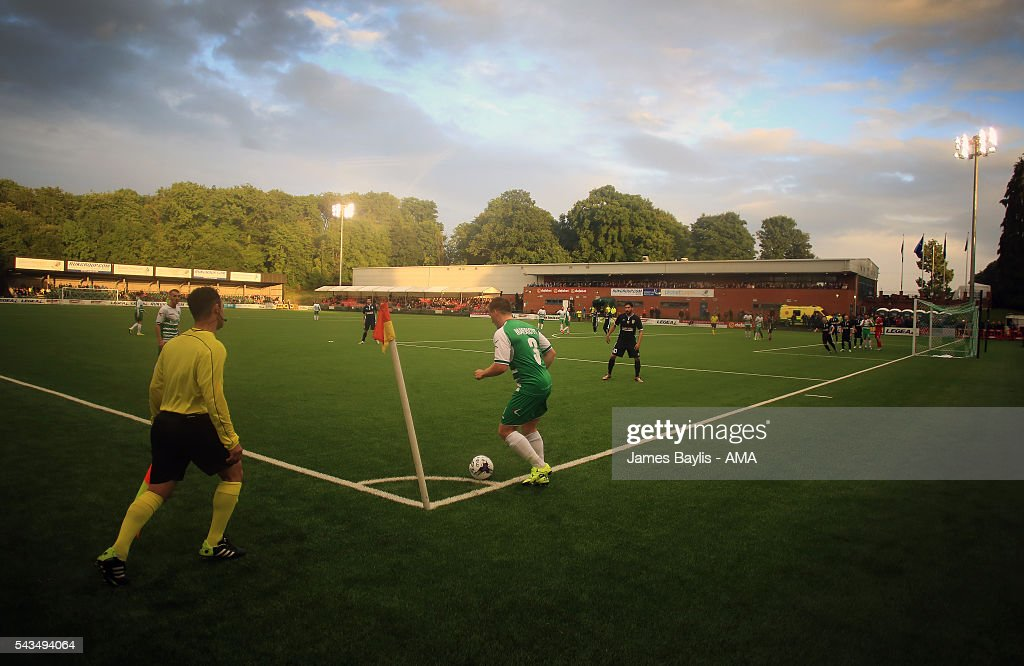 Chris Marriott of The New Saints takes a corner during the UEFA Champions League First Round Qualifier match between The New Saints and SP Tre Penne at Park Hall on June 28, 2016 in Oswestry, England.