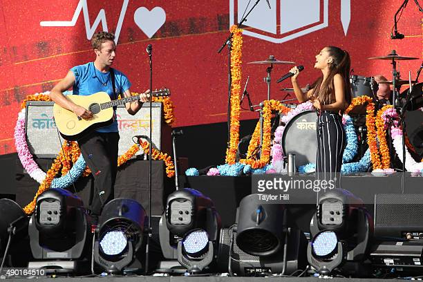 Chris Martin and Ariana Grande perform during the 2015 Global Citizen Festival at Central Park on September 26 2015 in New York City