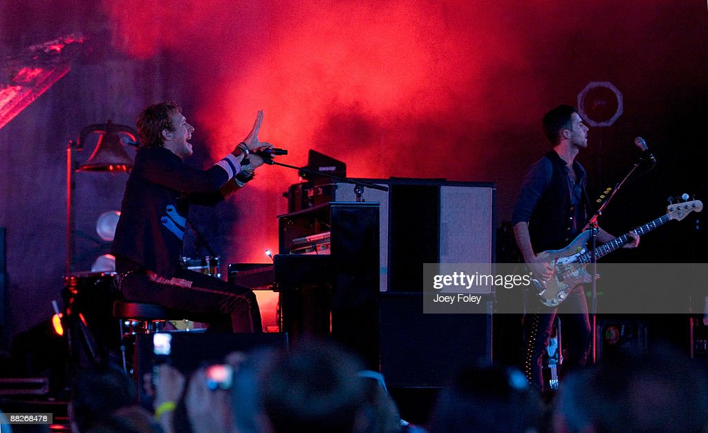 Chris Martin and Guy Berryman of Coldplay perform at the Verizon Wireless Music Center on June 5, 2009 in Noblesville, Indiana.