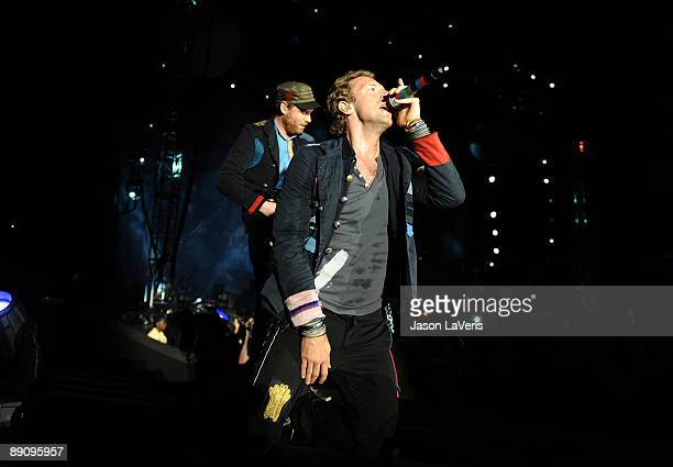 Chris Martin and Jonny Buckland of Coldplay perform at The Home Depot Center on July 18 2009 in Carson California