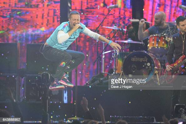 ONLY Chris Martin from the band Coldplay performs on stage at The BRIT Awards 2017 at The O2 Arena on February 22 2017 in London England