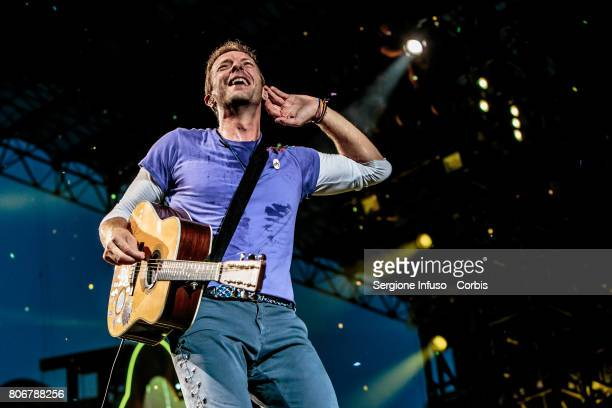 Chris Martin of British rock band Coldplay performs on stage at Stadio San Siro on July 3 2017 in Milan Italy