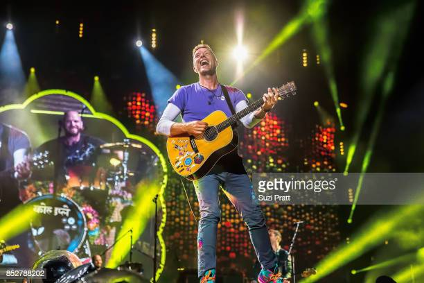 Chris Martin of Coldplay performs at CenturyLink Field on September 23 2017 in Seattle Washington