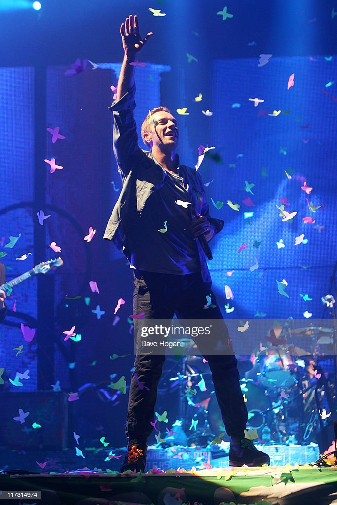 Chris Martin of Coldplay performs at the Glastonbury Festival at Worthy Farm, Pilton on June 25, 2011 in Glastonbury, England. The festival, which started in 1970 when several hundred hippies paid 1 GBP to watch Marc Bolan, has grown into Europe's largest music festival attracting more than 175,000 people over five days.