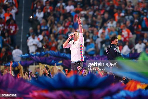 Chris Martin of Coldplay performs during the Pepsi Super Bowl 50 Halftime Show at Levi's Stadium on February 7 2016 in Santa Clara California