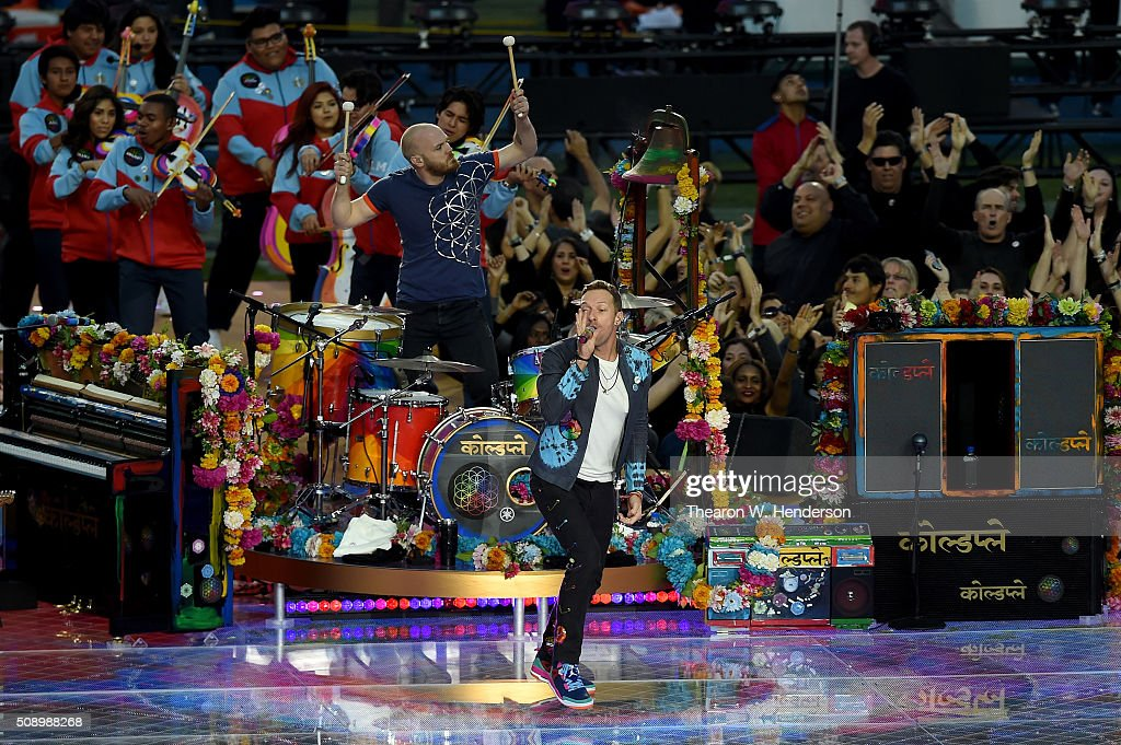 Chris Martin of Coldplay performs during the Pepsi Super Bowl 50 Halftime Show at Levi's Stadium on February 7, 2016 in Santa Clara, California.