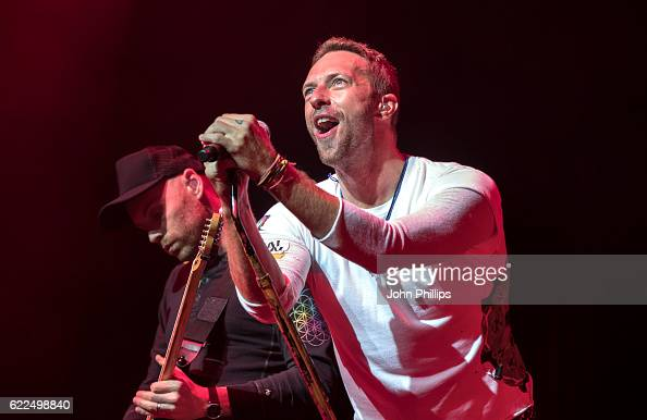ONLY Chris Martin of Coldplay performs during their exclusive gig for Absolute Radio at the London Palladium on November 11 2016 in London England