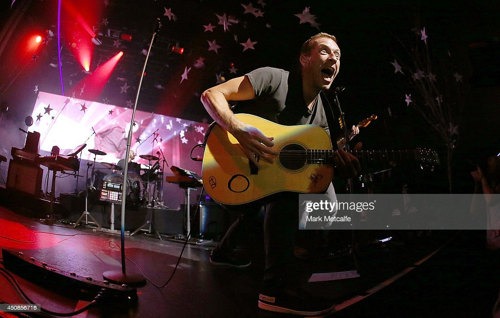 Chris Martin of Coldplay performs live for fans at Enmore Theatre on June 19 2014 in Sydney Australia