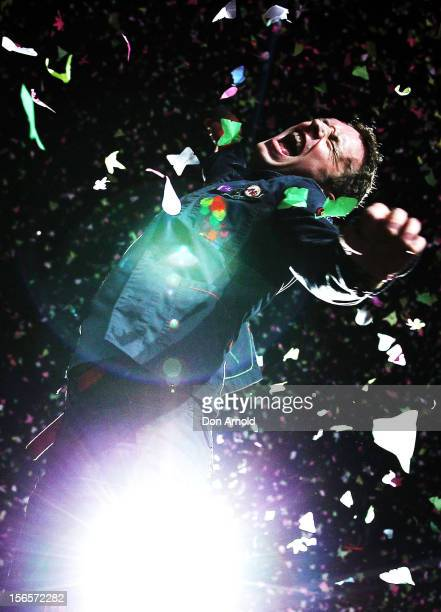 Chris Martin of Coldplay performs live on stage at Allianz Stadium on November 17 2012 in Sydney Australia