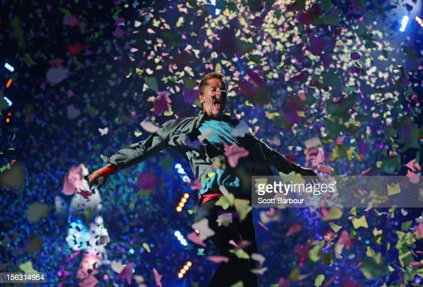 Chris Martin of Coldplay performs live on stage at Etihad Stadium on November 13 2012 in Melbourne Australia