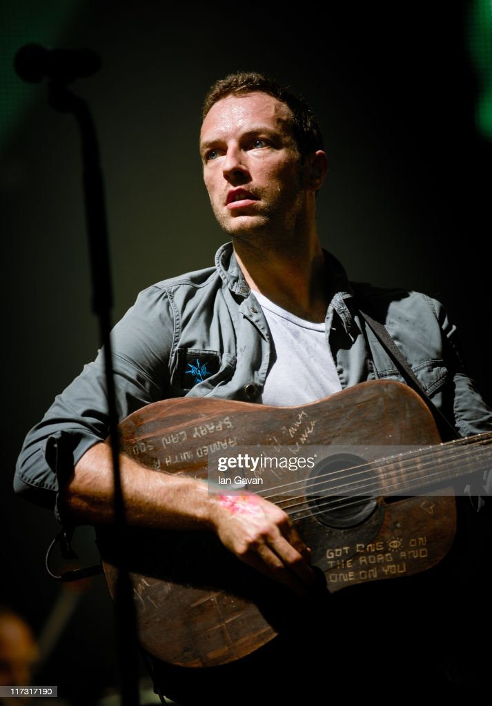 Chris Martin of Coldplay performs live on the pyramid stage during the Glastonbury Festival at Worthy Farm, Pilton on June 25, 2011 in Glastonbury, England.