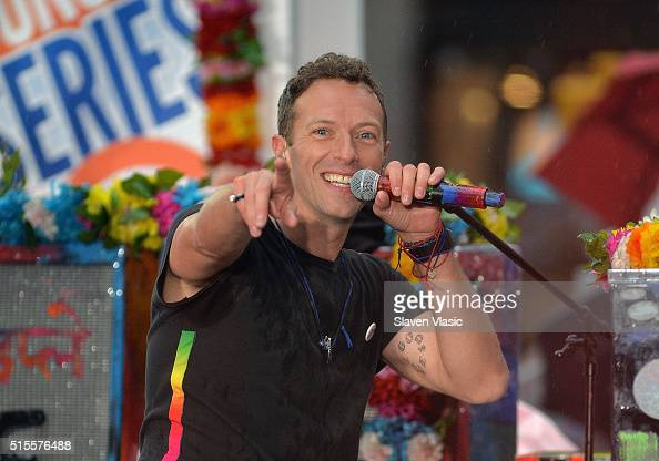 Chris Martin of Coldplay performs on NBC's 'Today' at Rockefeller Plaza on March 14 2016 in New York City