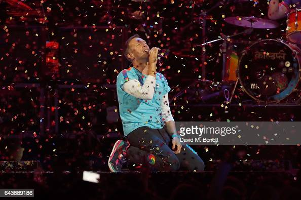 ONLY Chris Martin of Coldplay performs on stage at The BRIT Awards 2017 at The O2 Arena on February 22 2017 in London England