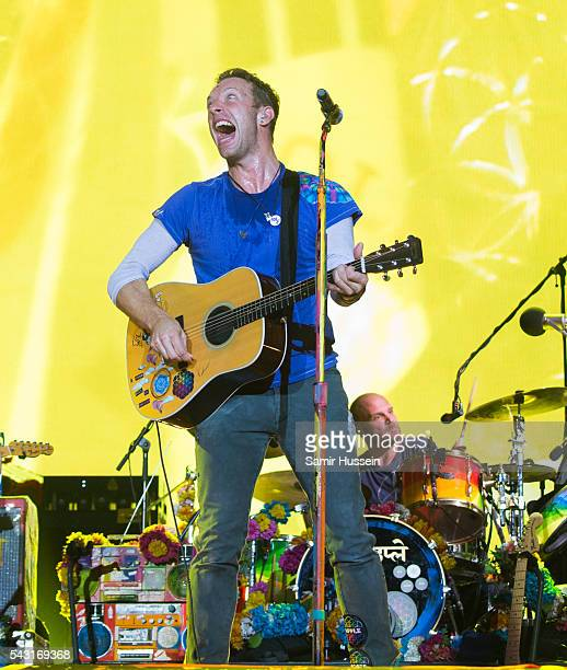 Chris Martin of Coldplay performs on the Pyramid Stage as the band headline the Glastonbury Festival 2016 at Worthy Farm Pilton on June 25 2016 in...