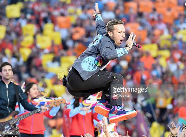 Chris Martin of Coldplay performs onstage during the Pepsi Super Bowl 50 Halftime Show at Levi's Stadium on February 7 2016 in Santa Clara California