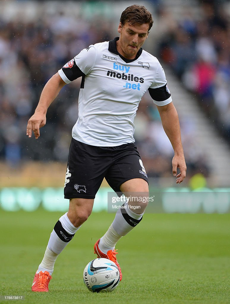 Chris Martin of Derby in action during the Sky Bet Championship match between Derby County and Blackburn Rovers at Pride Park Stadium on August 04, 2013 in Derby, England,